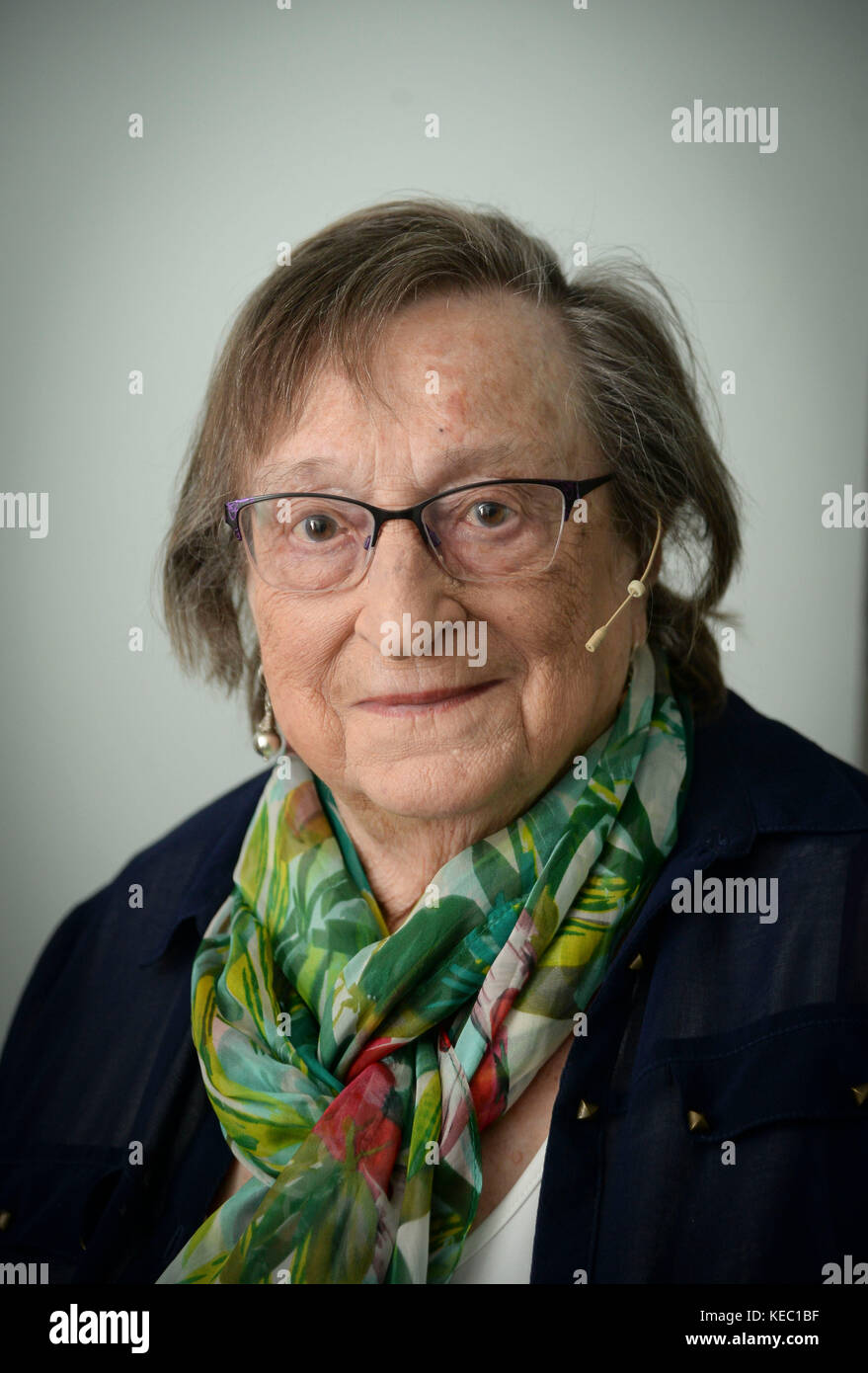 Iby Knill at The Dorchester Literary Festival, Dorset, UK, Iby Knill, Auschwitz holocaust survivor Credit: Finnbarr - Stock Image