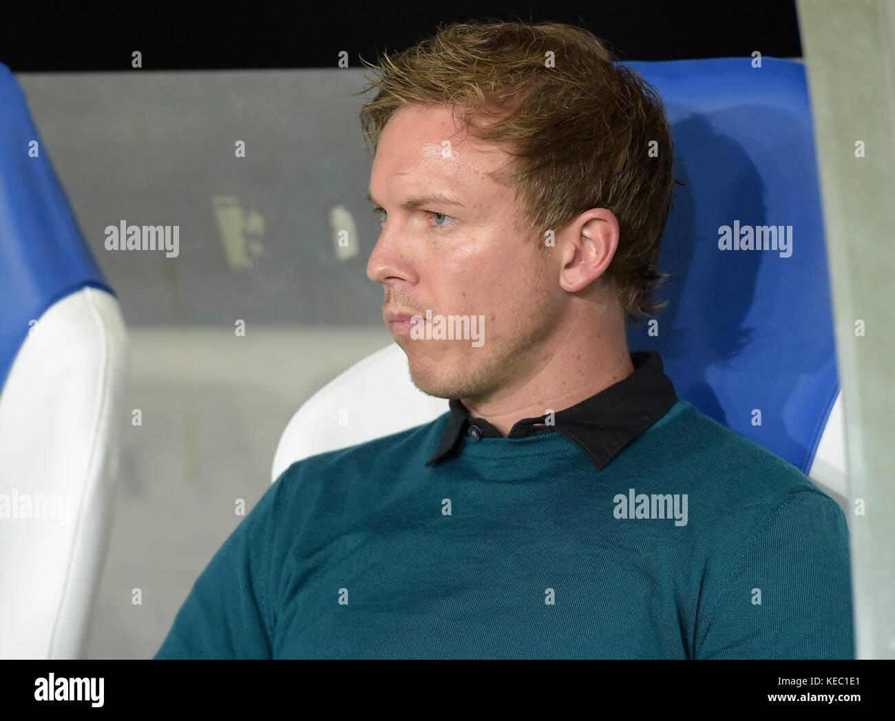 Sinsheim, GER - October 19, Rhein-Neckar-Arena . Headcoach Julian Nagelsmann of Hoffenheim during the the game between - Stock Image