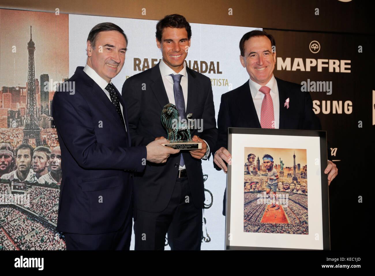 Journalist Pedro J Ramirez,Rafa Nadal during the celebration of the Awards Leones ''El Español'' - Stock Image