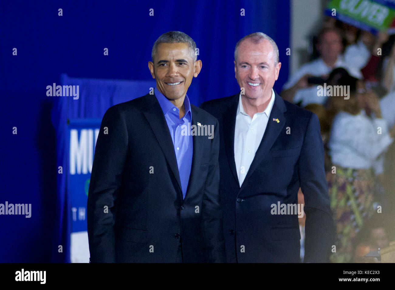 Newark, New Jersey, USA. 19th Oct, 2017. Former US president Barack Obama returns on the campaign trail at a rally Stock Photo