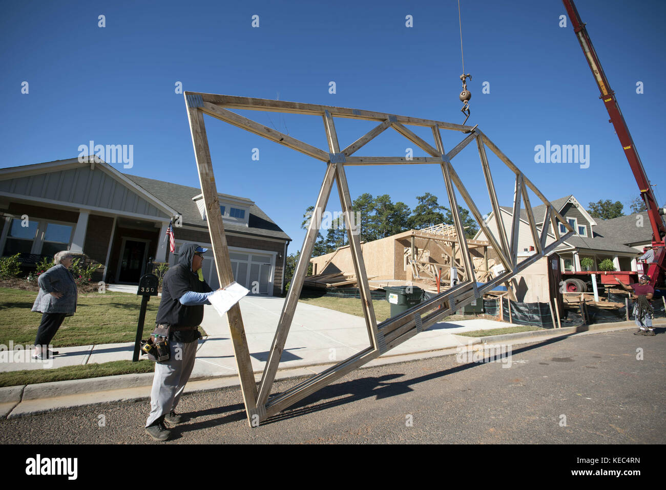 Canton, GA, USA. 19th Oct, 2017. New construction continues to grow for smaller, more energy efficient homes designed - Stock Image