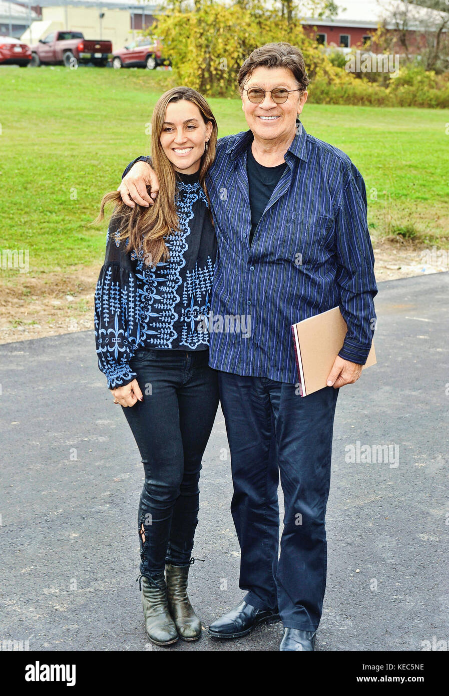 Ohsweken, Ontario, Canada. 14th Oct, 2017. Rock and Roll Hall of Famer Robbie Robertson (pictured with daughterStock Photo