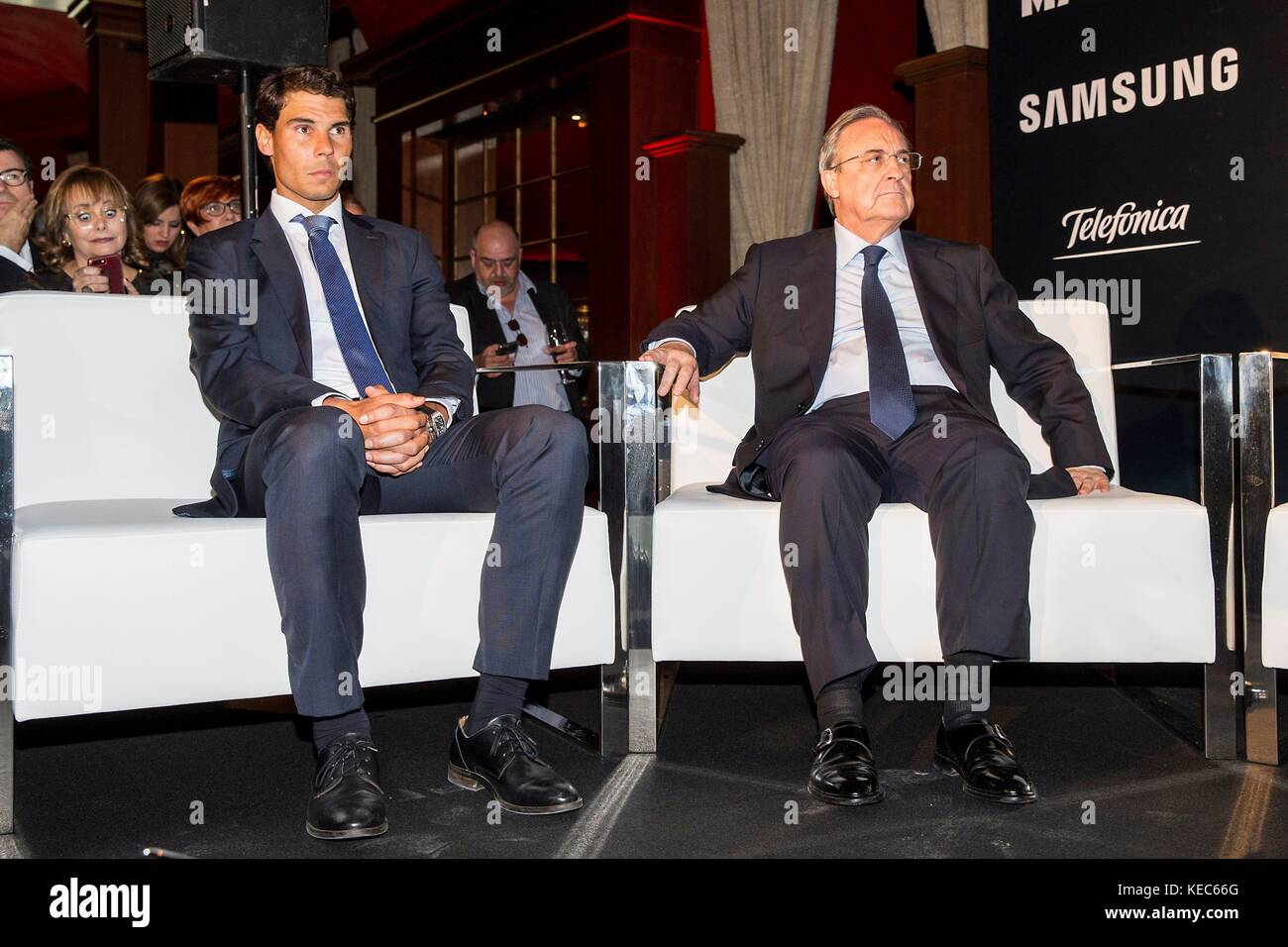 Madrid, Spain. 20th Oct, 2017. Spanish tennis player Rafael Nadaland Real Madrid´s president Florentino Perez - Stock Image