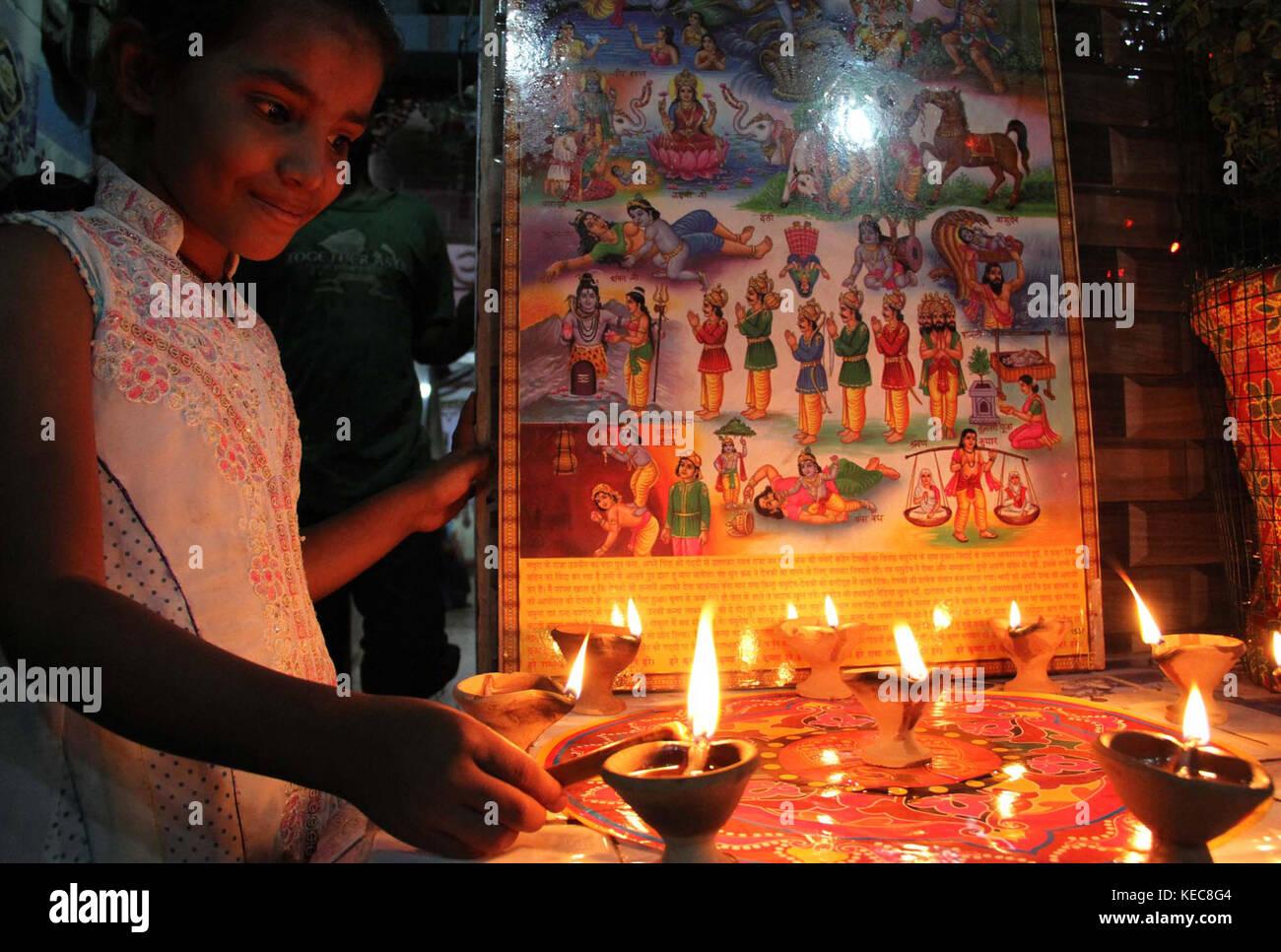 Hindu community of Karachi celebrating festival Diwali on Thursday, October 19, 2017. Diwali is a festival of lights - Stock Image