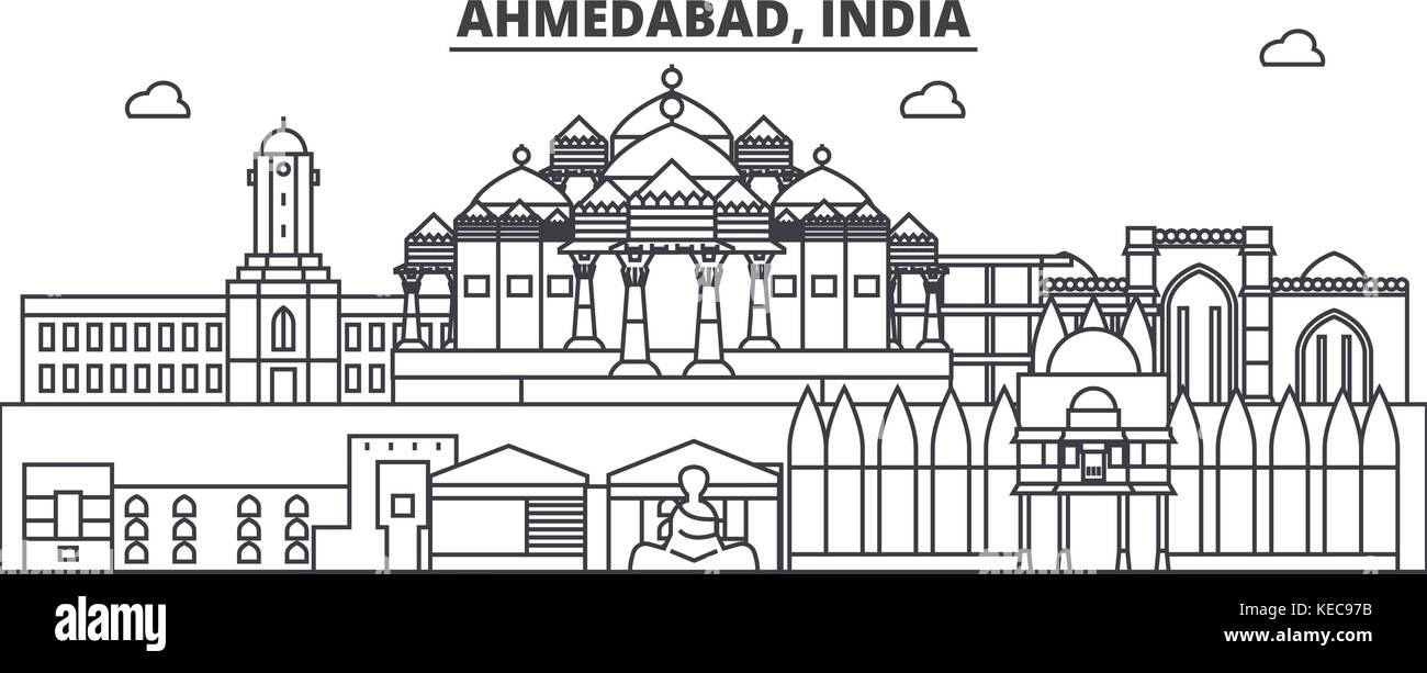 Ahmedabad, India architecture line skyline illustration. Linear vector cityscape with famous landmarks, city sights, - Stock Vector