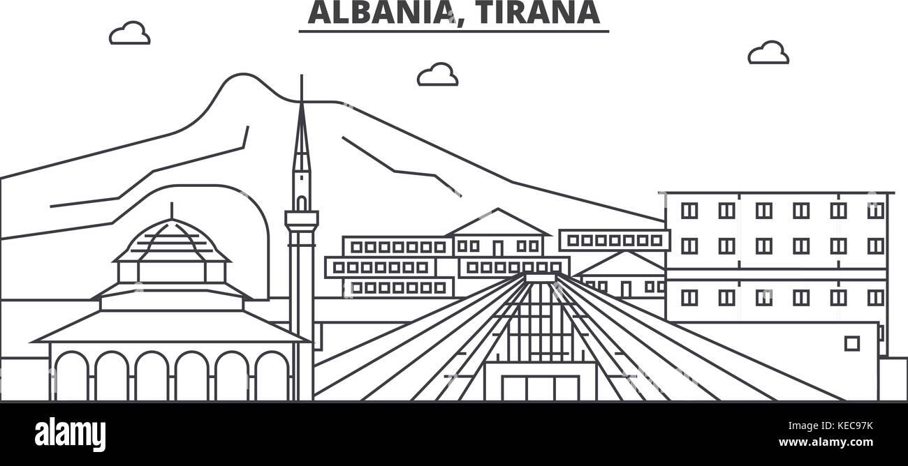 Albania, Tirana architecture line skyline illustration. Linear vector cityscape with famous landmarks, city sights, - Stock Vector