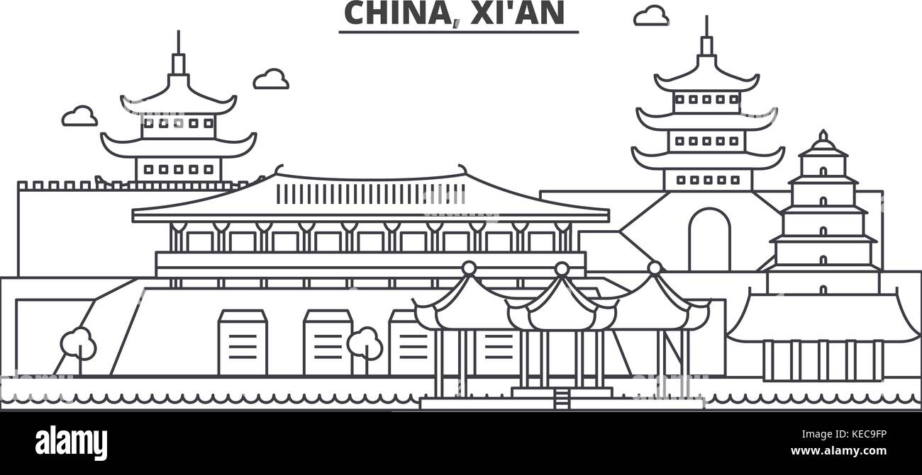 China, Xian architecture line skyline illustration. Linear vector cityscape with famous landmarks, city sights, - Stock Vector