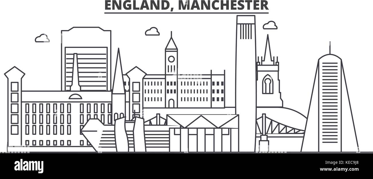 England, Manchester architecture line skyline illustration. Linear vector cityscape with famous landmarks, city - Stock Vector