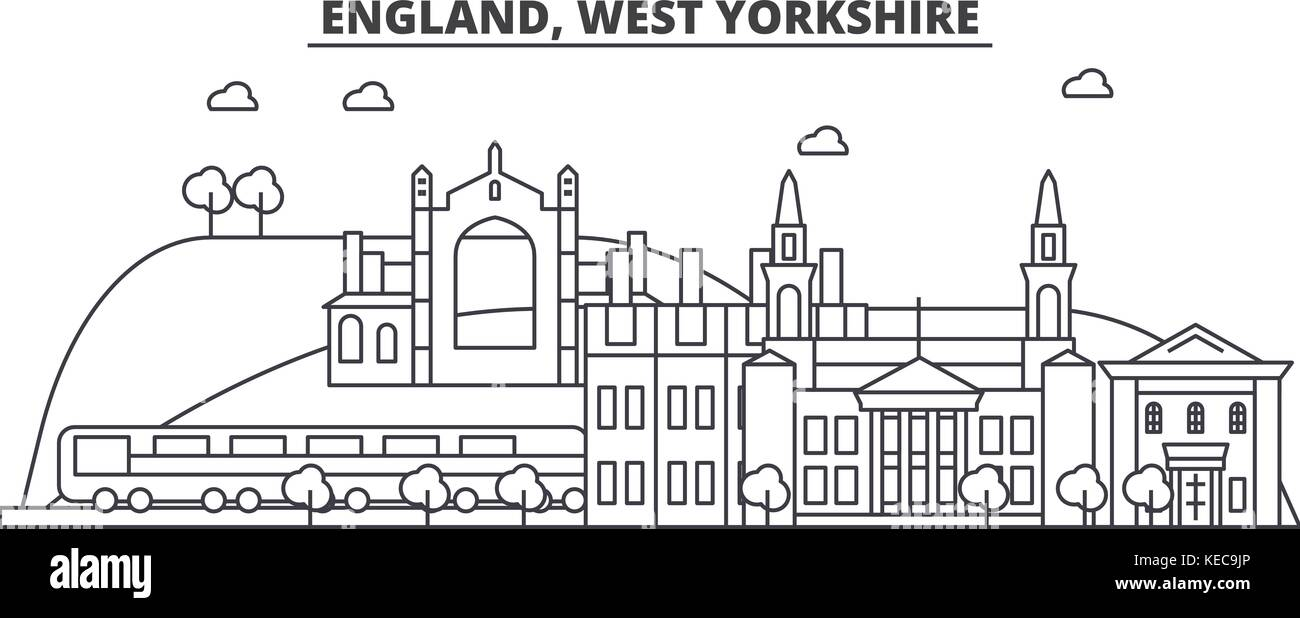 England, West Yorkshire architecture line skyline illustration. Linear vector cityscape with famous landmarks, city - Stock Vector
