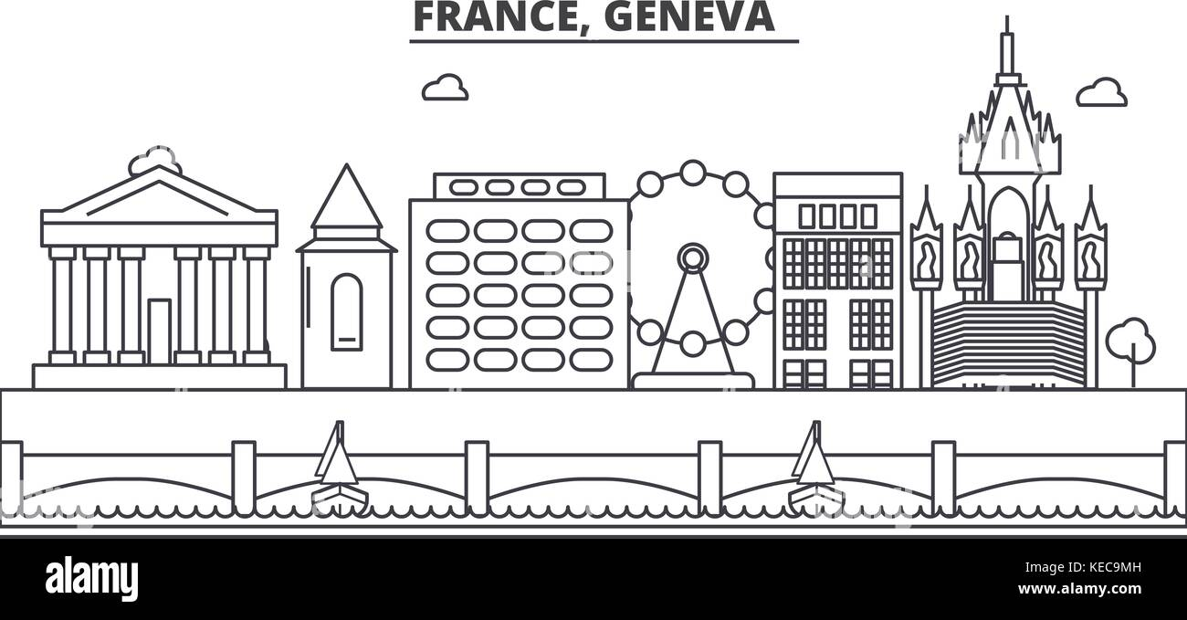 France, Geneva architecture line skyline illustration. Linear vector cityscape with famous landmarks, city sights, - Stock Vector