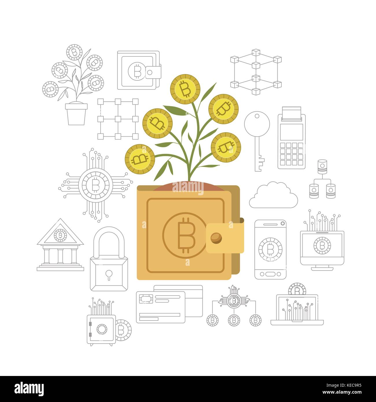 bitcoin wallet growing currency in closeup and bitcoin related icons in monochrome background - Stock Image
