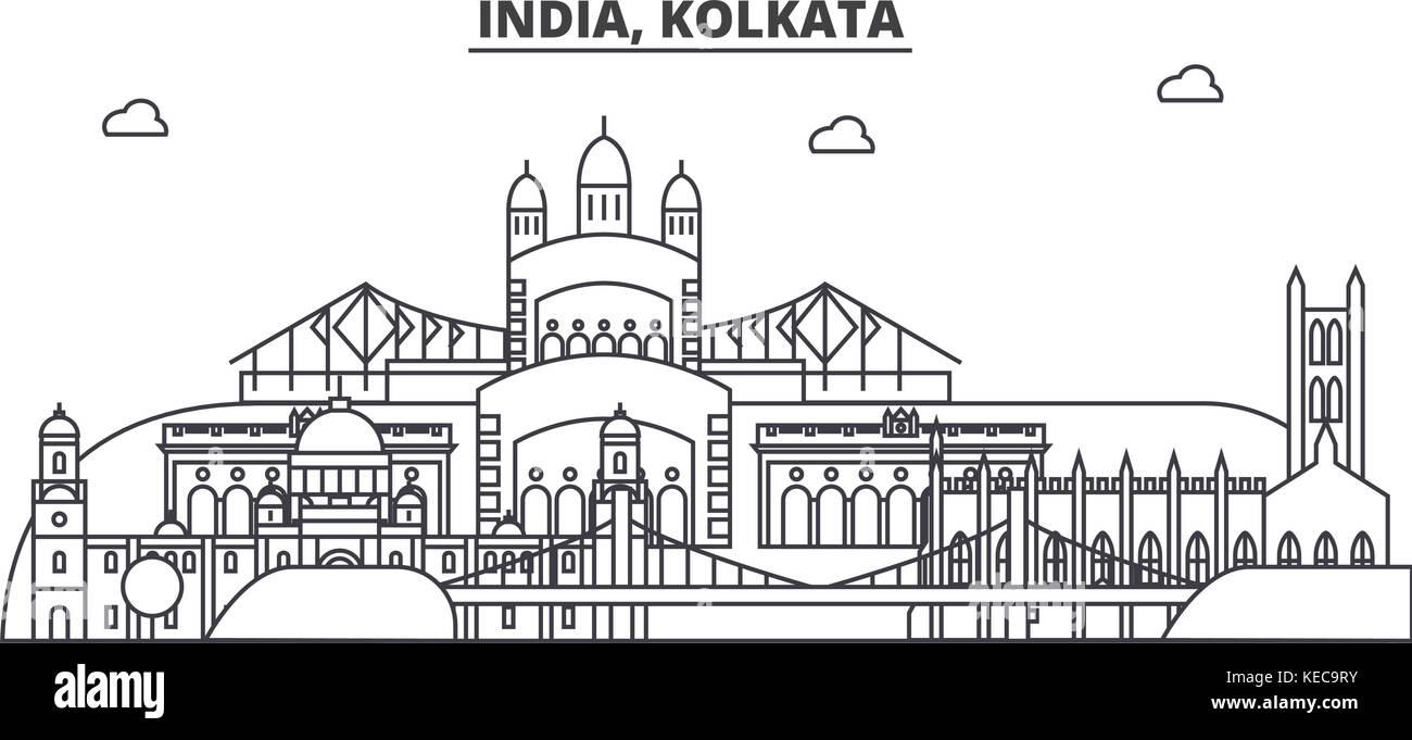 India, Kolkata architecture line skyline illustration. Linear vector cityscape with famous landmarks, city sights, - Stock Vector