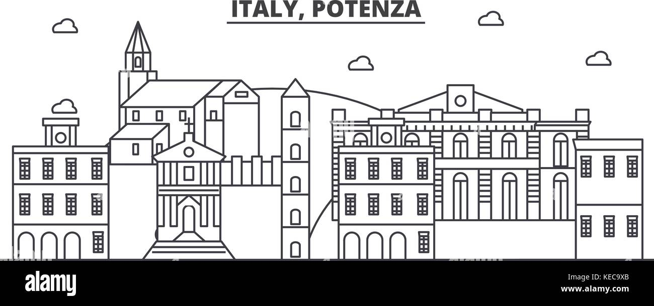 Italy, Potenza architecture line skyline illustration. Linear vector cityscape with famous landmarks, city sights, - Stock Vector