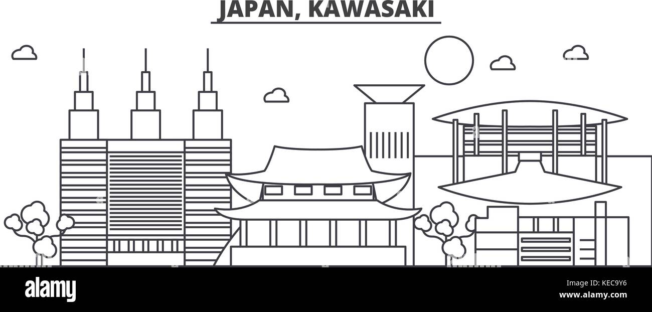 Japan, Kawasaki architecture line skyline illustration. Linear vector cityscape with famous landmarks, city sights, - Stock Vector