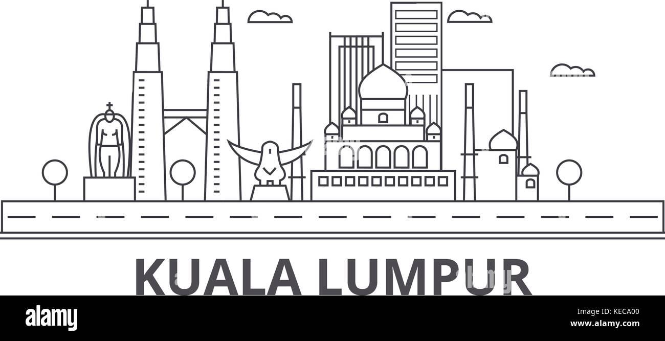 Kuala Lumpur Malaysia architecture line skyline illustration. Linear vector cityscape with famous landmarks, city - Stock Vector