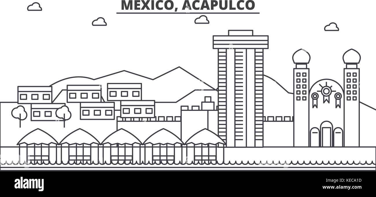 Mexico, Acapulco architecture line skyline illustration. Linear vector cityscape with famous landmarks, city sights, - Stock Vector