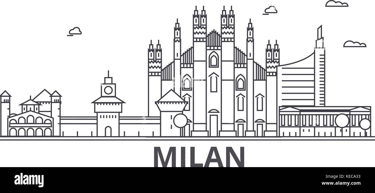 Milan architecture line skyline illustration. Linear vector cityscape with famous landmarks, city sights, design - Stock Vector