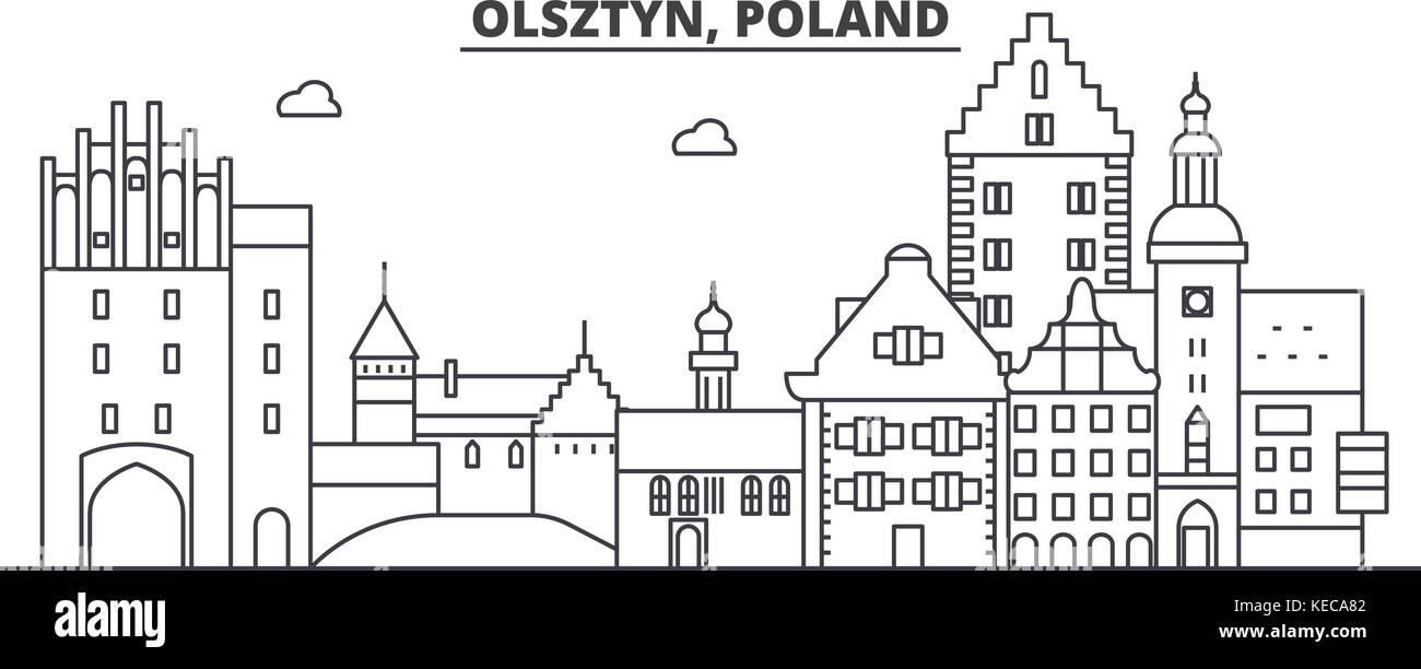 Poland, Olsztyn architecture line skyline illustration. Linear vector cityscape with famous landmarks, city sights, - Stock Vector