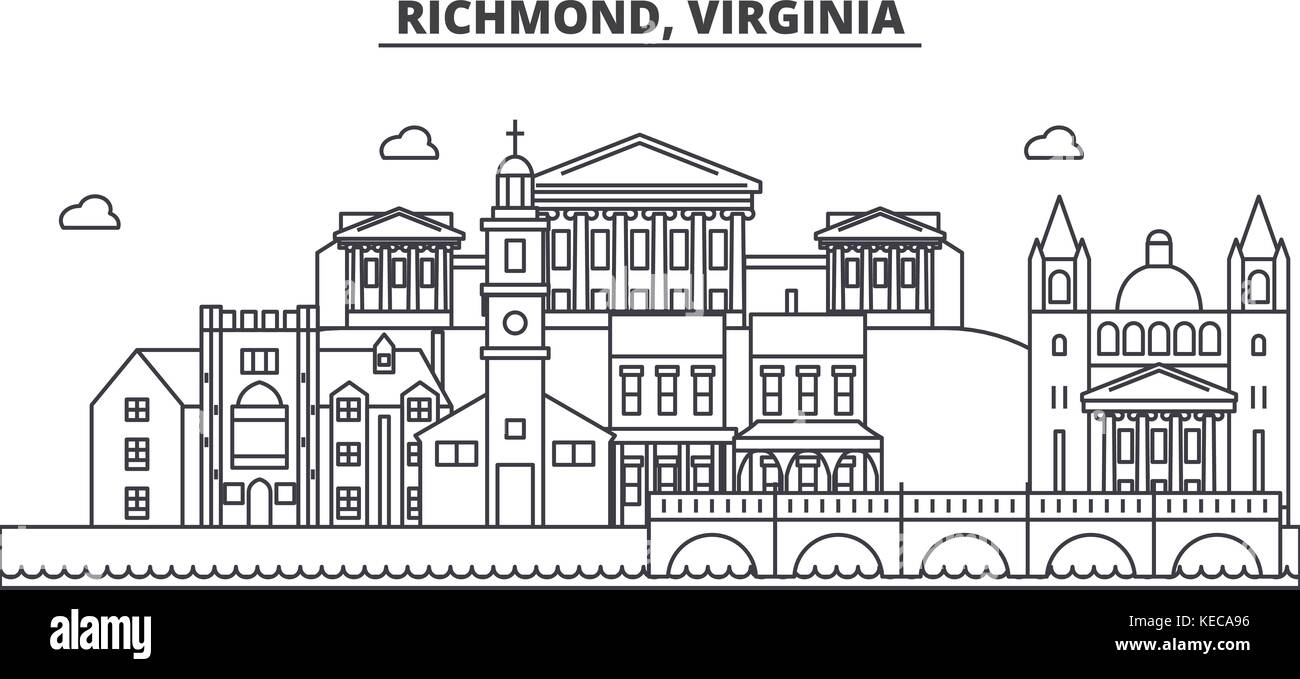 Richmond, Virginia architecture line skyline illustration. Linear vector cityscape with famous landmarks, city sights, - Stock Image