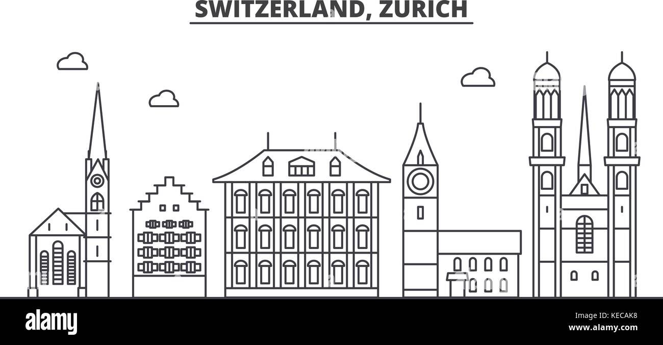 Switzerland, Zurich architecture line skyline illustration. Linear vector cityscape with famous landmarks, city - Stock Vector