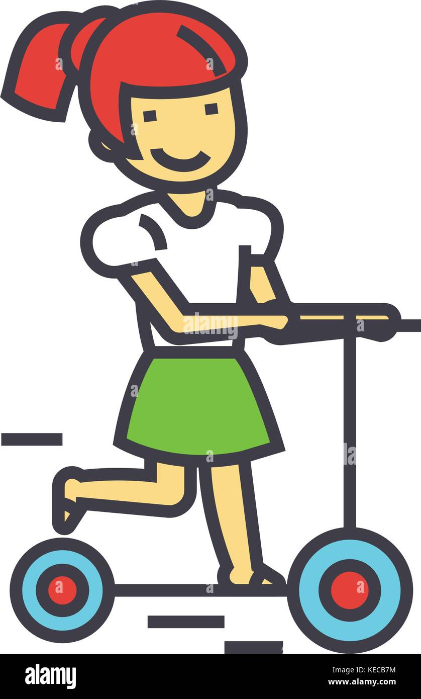Girl on a scooter, kid in kindergharten concept.   - Stock Vector