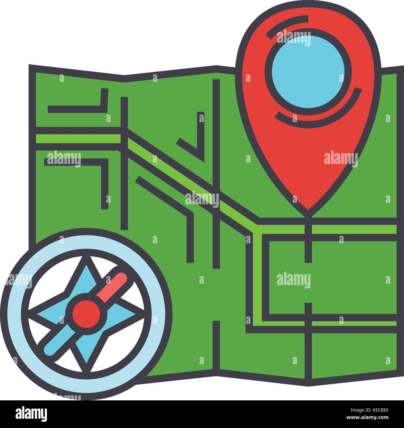 City map, navigation, compass concept.   - Stock Vector