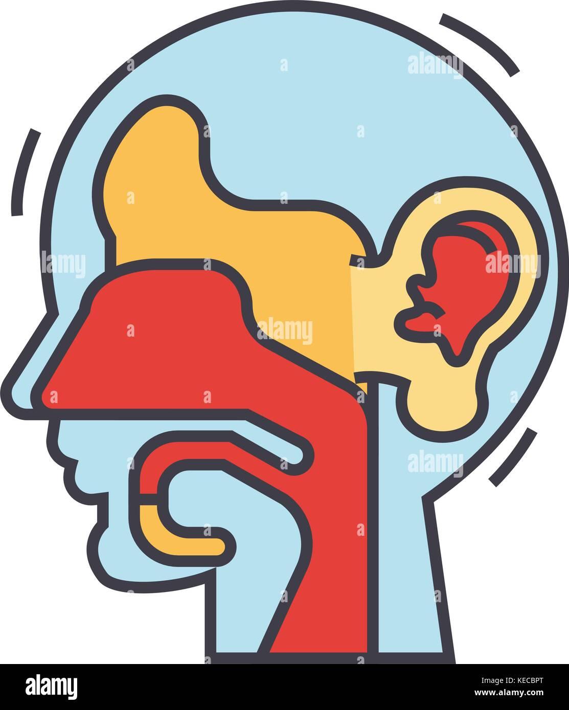 Ear, nose, throat, ent concept.   Stock Vector