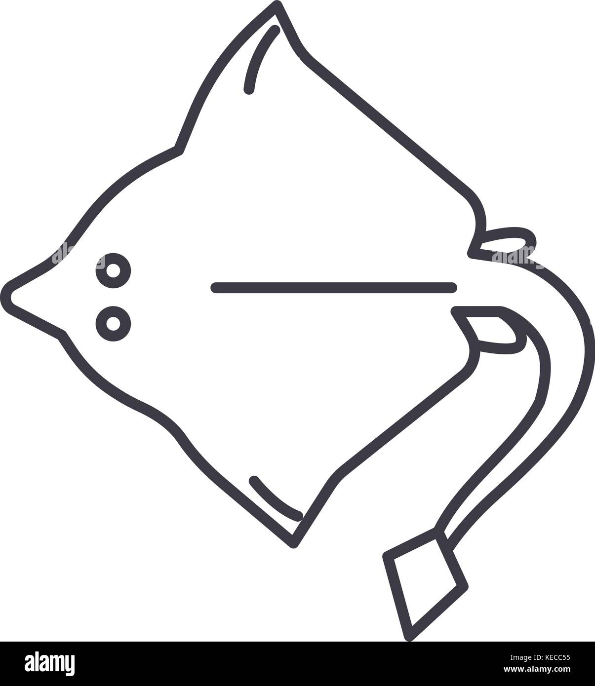 Stingray Vector Line Icon Sign Illustration On Background Editable Strokes