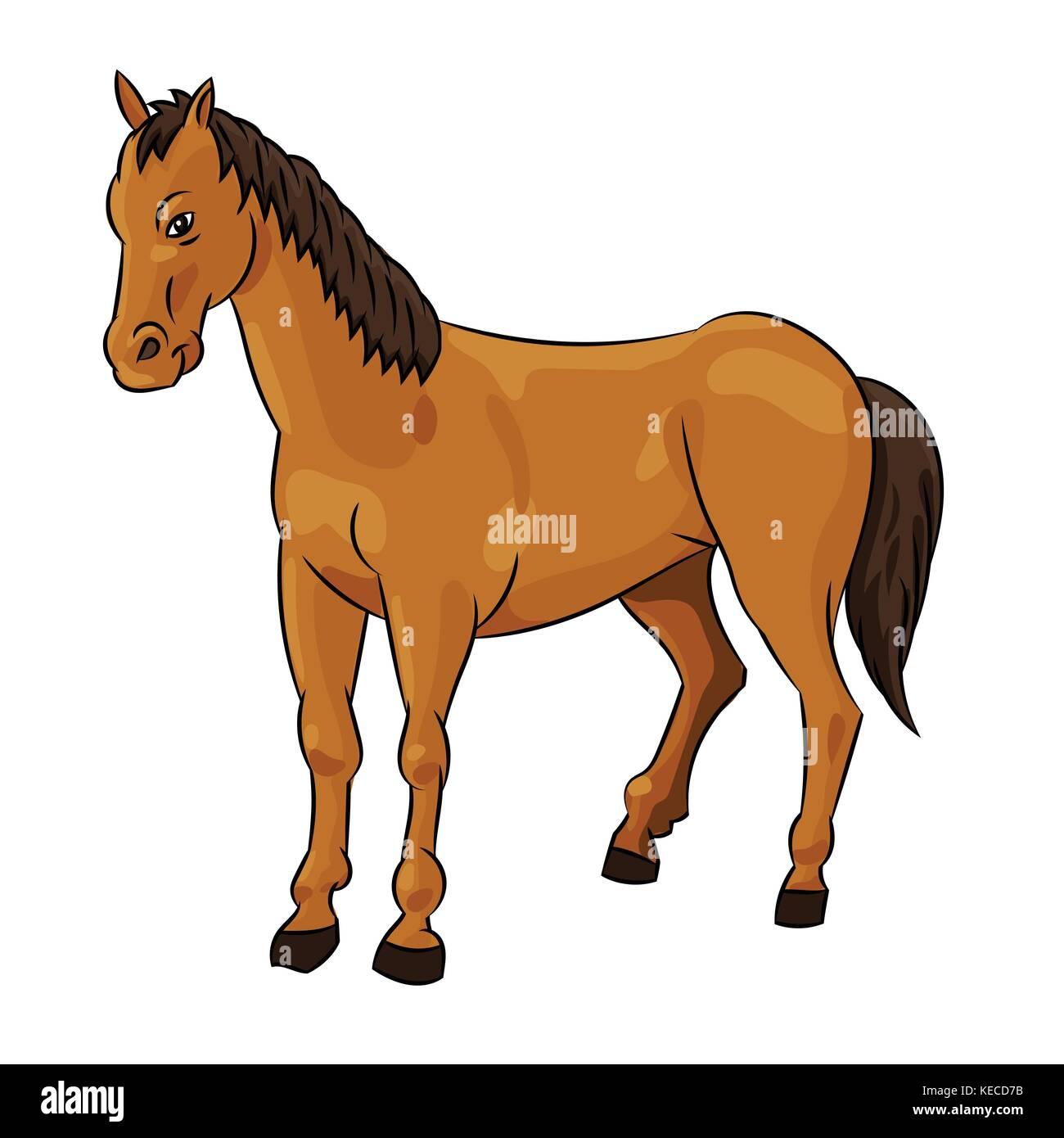 Illustration of Horse standing Isolated on white background. Children's illustration. Vector. - Stock Image