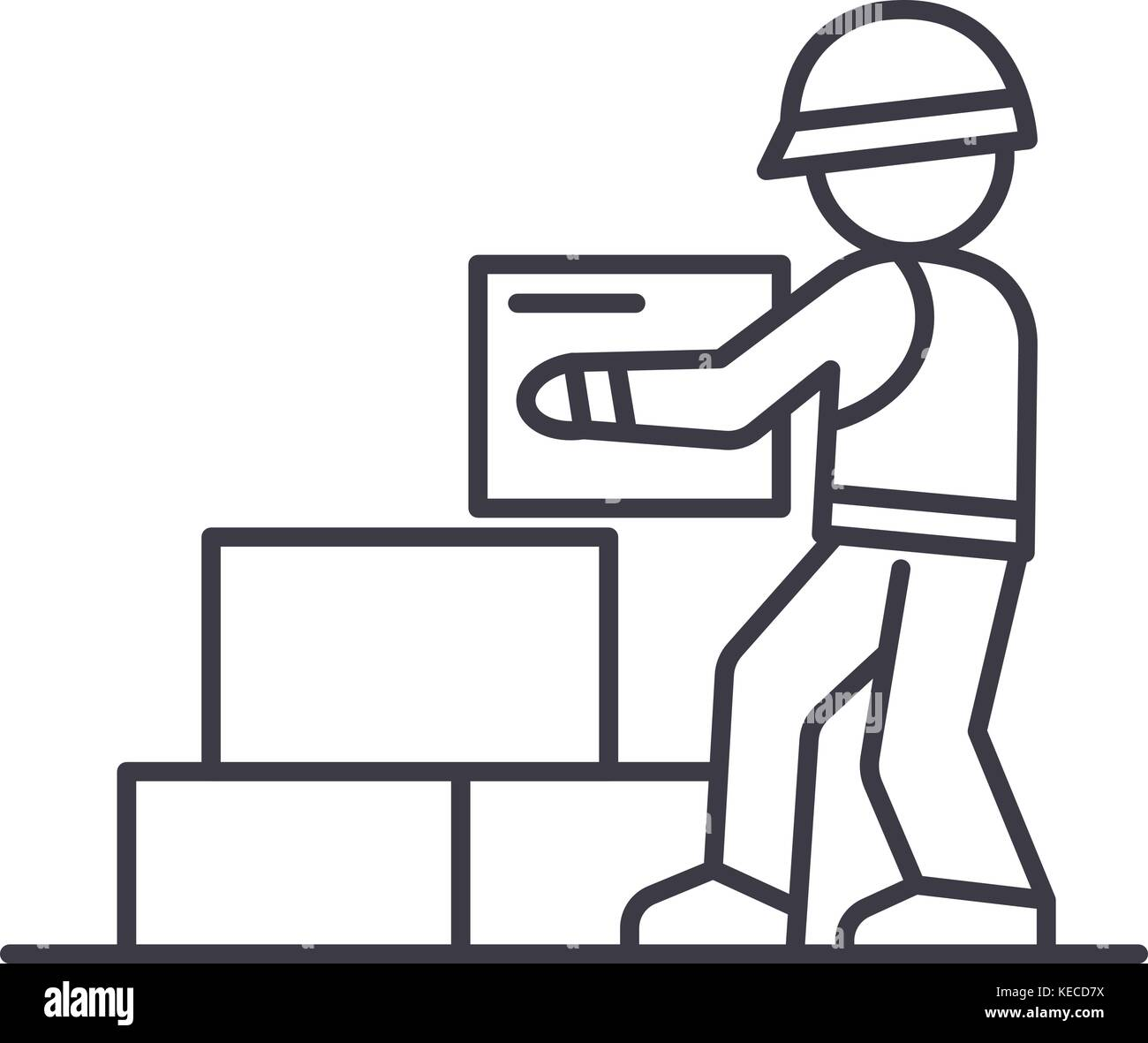 worker builder taking bricks vector line icon, sign, illustration on background, editable strokes - Stock Vector