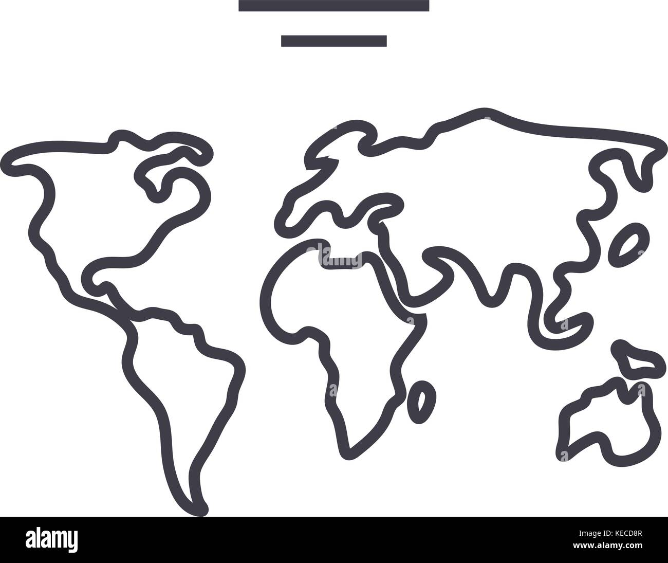world map vector line icon, sign, illustration on background