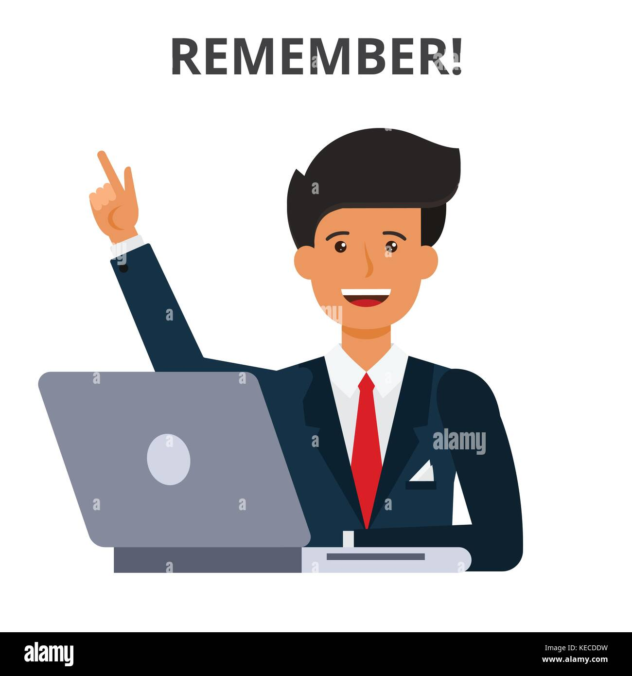 Remember concept. Business schedule, idea generation time management. Businessman at the laptop. Flat style vector - Stock Vector