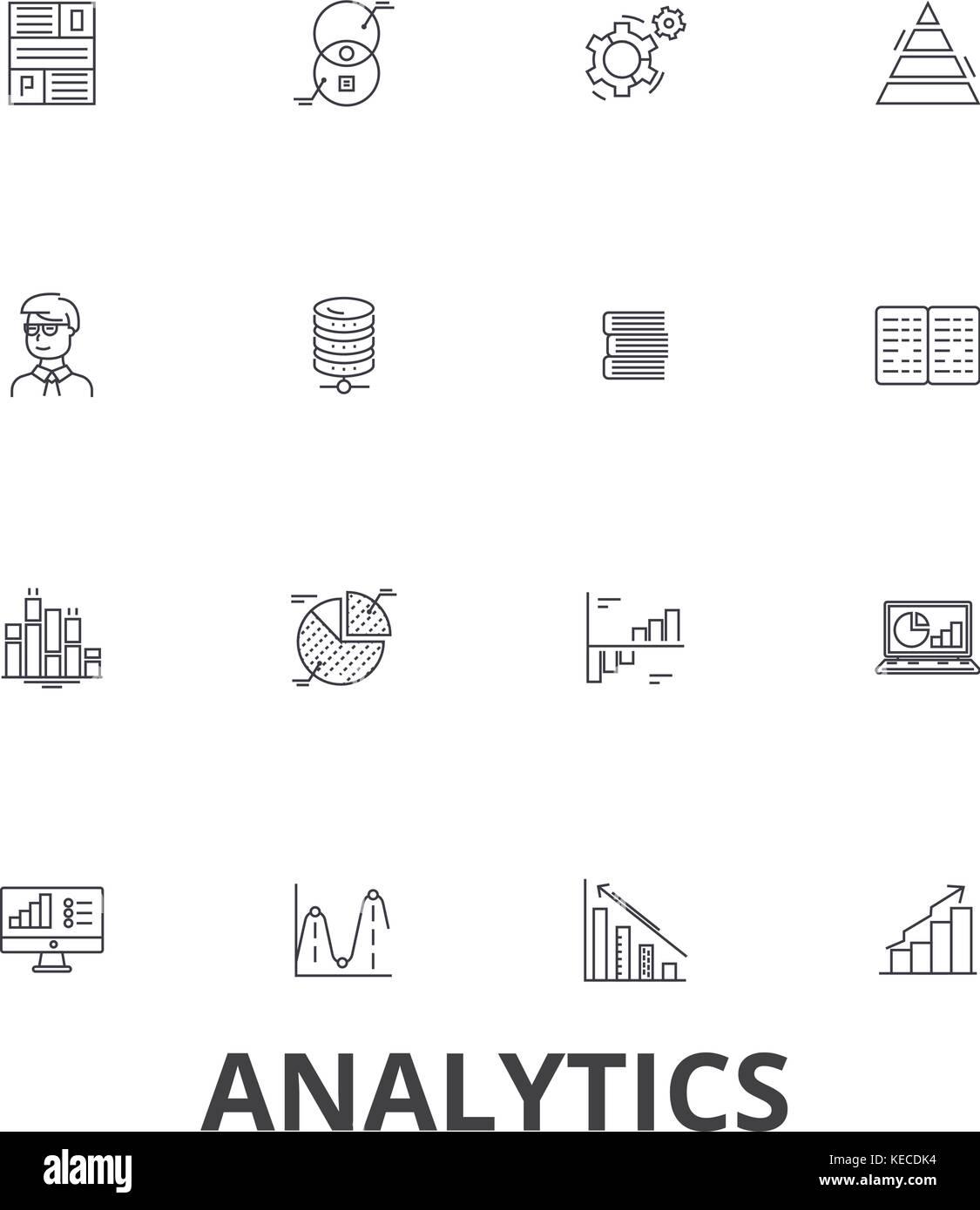 Analytics,  data, statistics, analyze,  graph,  report, concept,  chart, plan line icons. Editable strokes. Flat - Stock Image