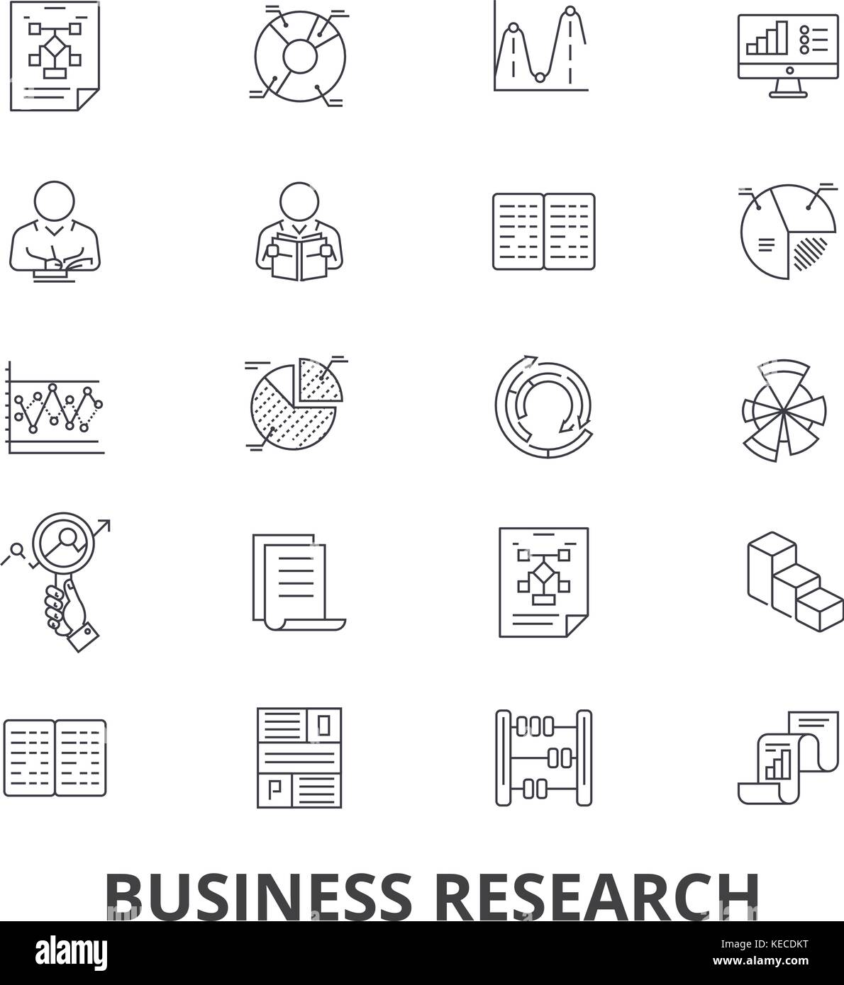 Business research, strategy, marketing, analytics, data, monitoring, studying line icons. Editable strokes. Flat - Stock Image