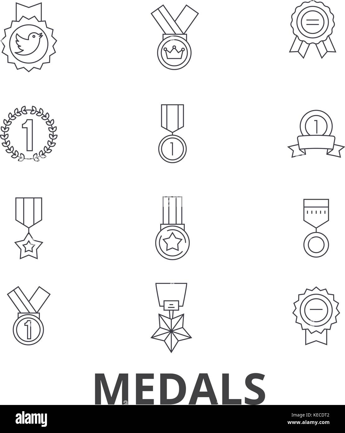 Medals, trophy, gold medal, award, medallion, olympic medal, winner, badge line icons. Editable strokes. Flat design - Stock Vector