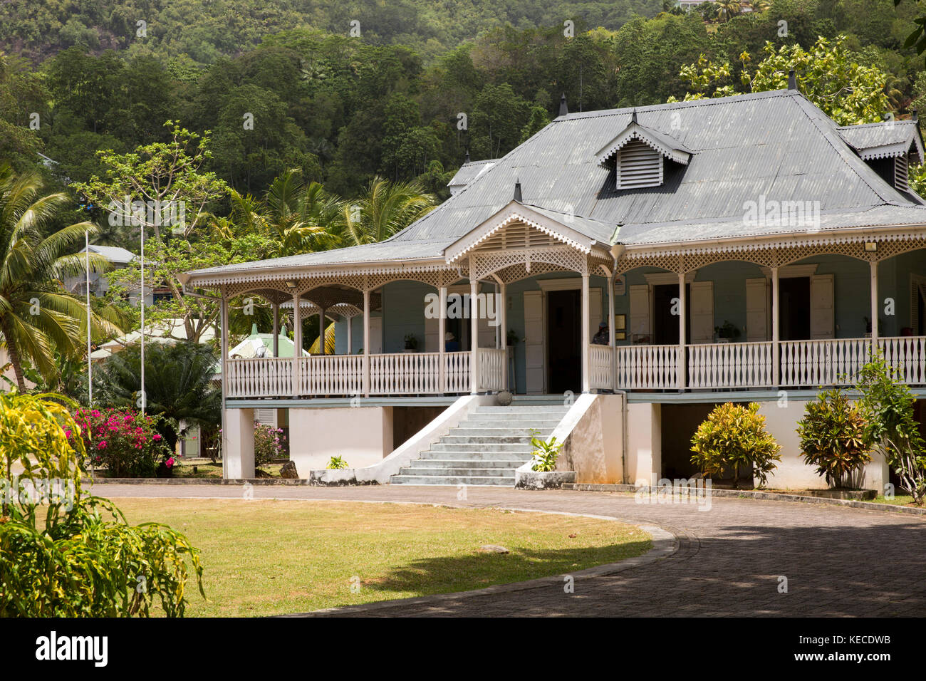 The Seychelles, Mahe, Anse aux Pins, St Roche Au Cap, Craft Village, Domaine Val des Pres Estate House - Stock Image