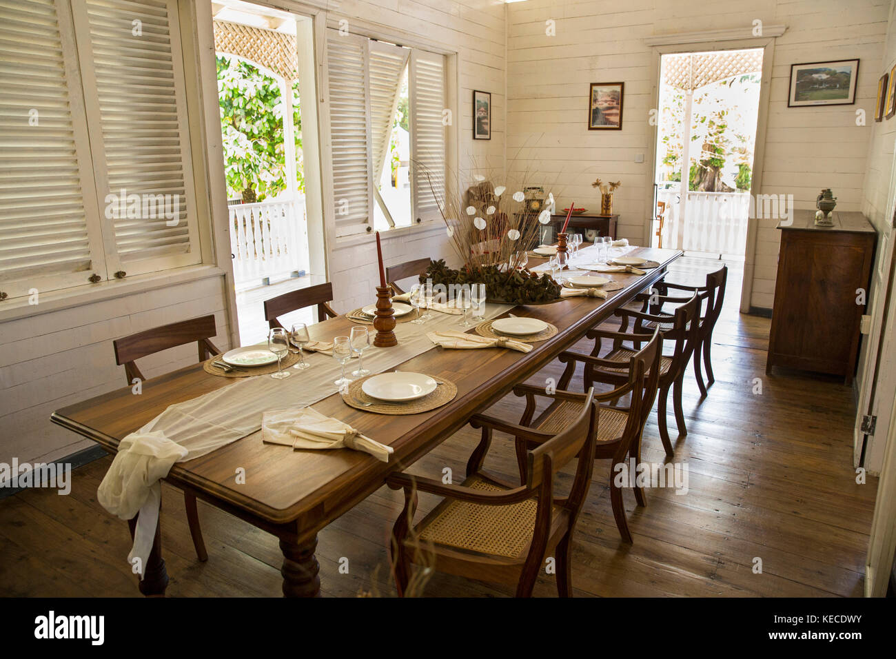The Seychelles, Mahe, Anse aux Pins, St Roche Au Cap, Domaine Val des Pres Estate House, interior, dining room - Stock Image