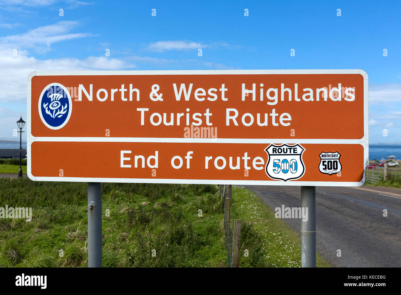 End of North and West Higlands Tourist Route and part of the North Coast 500 scenic route, A99, John O'Groats, Highlands, Stock Photo