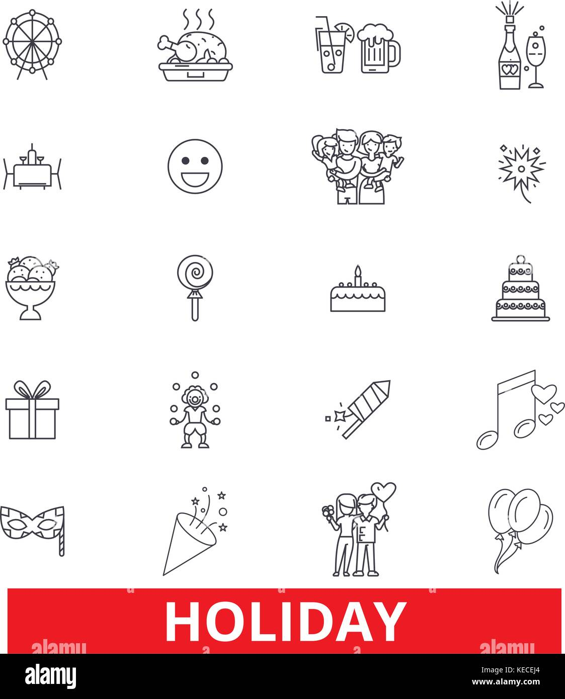 Holidays,break, festival,vacation, weekend, relaxation, day off, fiesta, party line icons. Editable strokes. Flat - Stock Vector