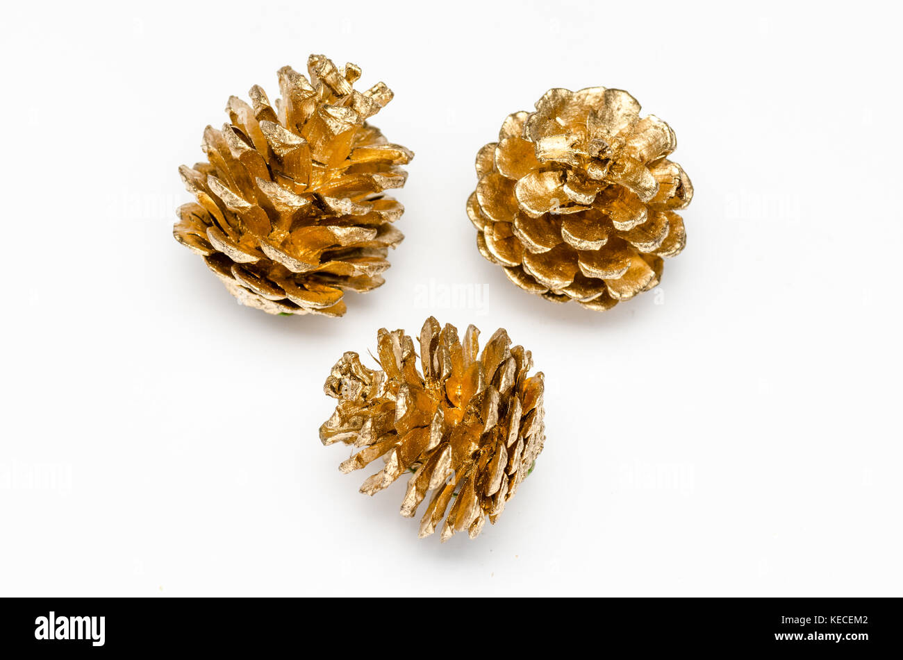 three golden pine cone on a white background stock photo 163773458