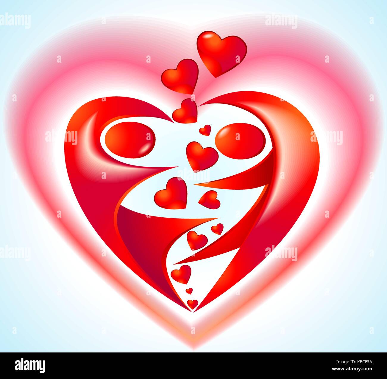 Icon with heart and dancers - Stock Vector