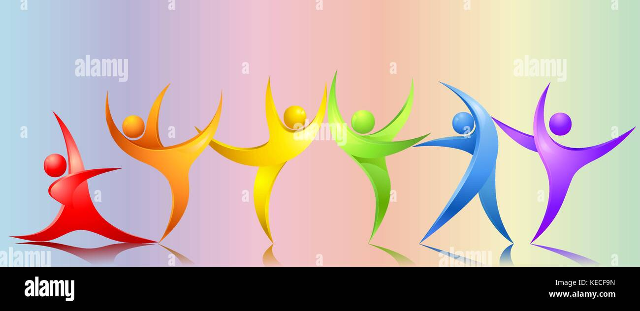 Absract rainbow people - Stock Vector