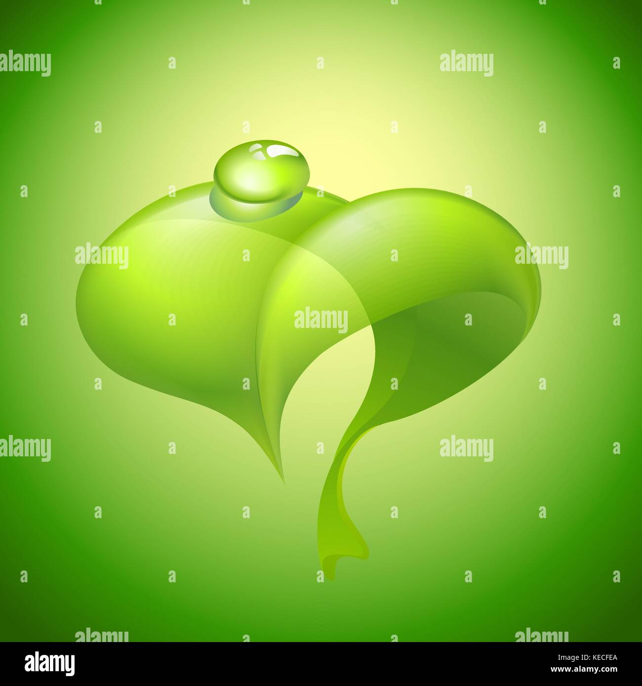 Green leaf with water drop - Stock Vector
