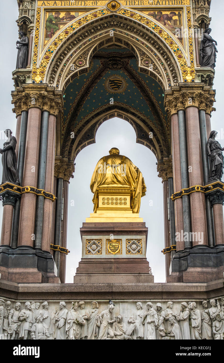 North side of the Albert Memorial - an ornate monument commemorating the death of Prince Albert in 1861. Kensington - Stock Image