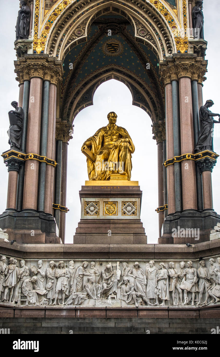 South side of the Albert Memorial - an ornate monument commemorating the death of Prince Albert in 1861. Kensington - Stock Image