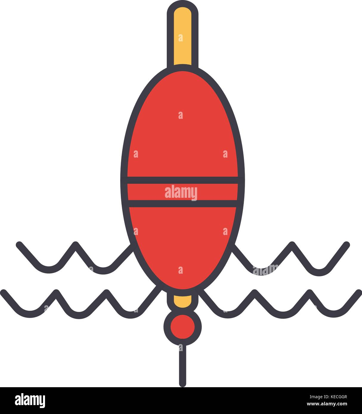 Float fishing flat line illustration, concept vector isolated icon ...