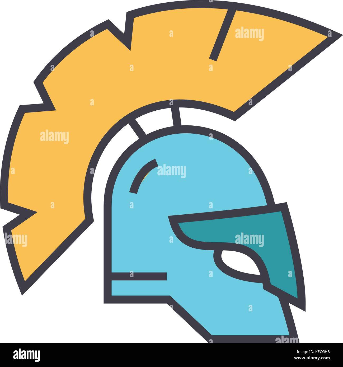 Helmet, greece flat line illustration, concept vector isolated icon  - Stock Image
