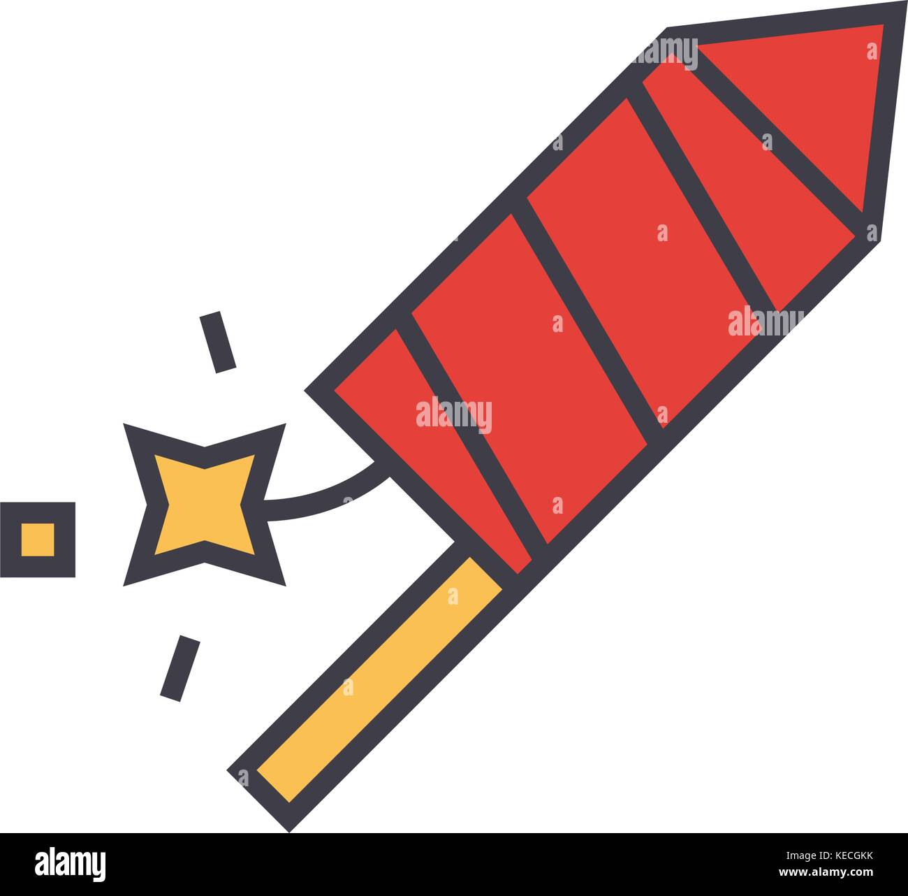 Petard, fire show flat line illustration, concept vector isolated icon  - Stock Image