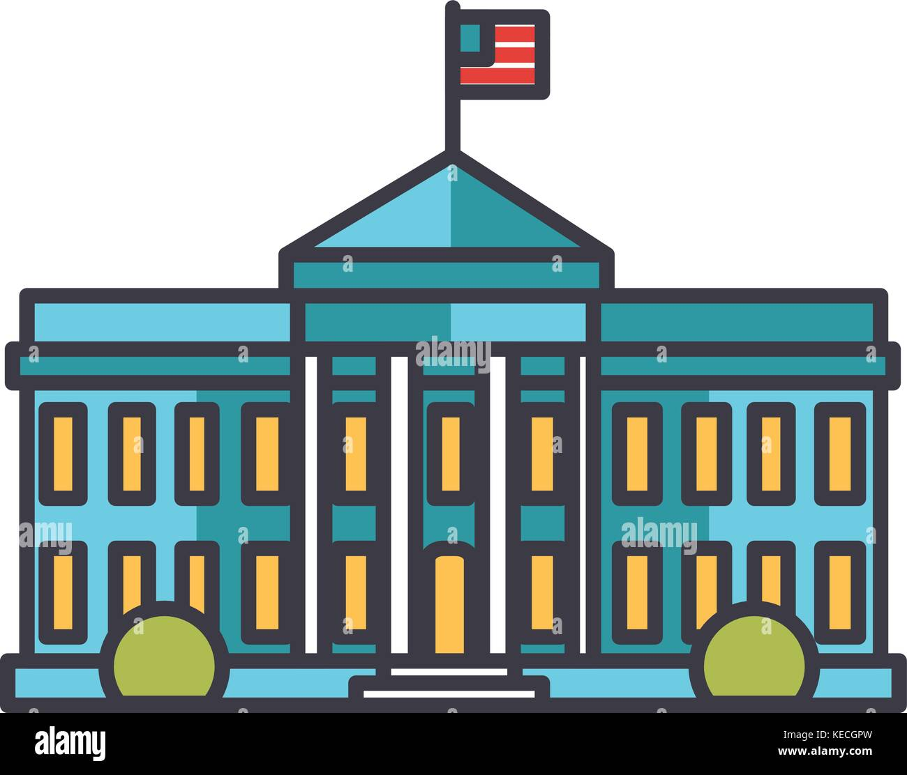 white house usa building flat line illustration concept vector rh alamy com white house vector free download white house vector free download