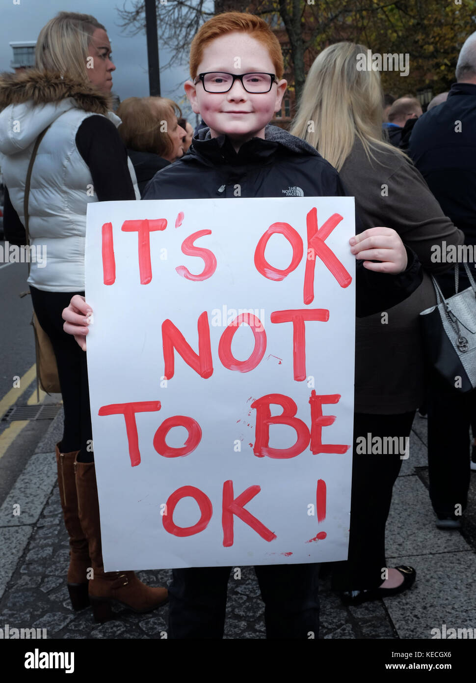Boy at suicide awareness rally, City Hall, Belfast - Stock Image